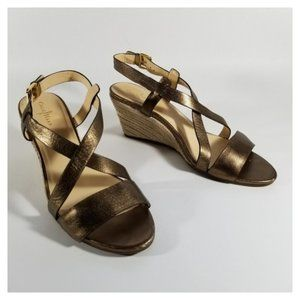 Cole Haan Gold Strappy Slingback Wedge Sandals